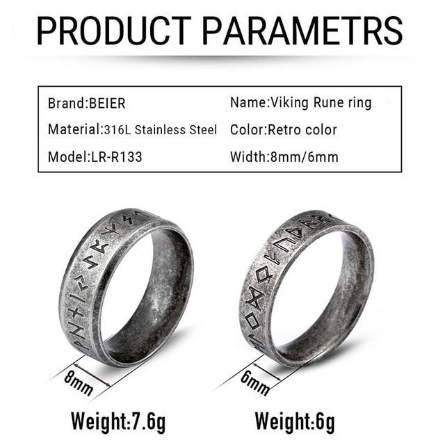 Stainless steel Odin Norse Viking Amulet Rune MEN Ring  2
