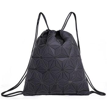 Drawstring backpack men and women outdoor sports geometric rhombus laser luminous casual beam pocket