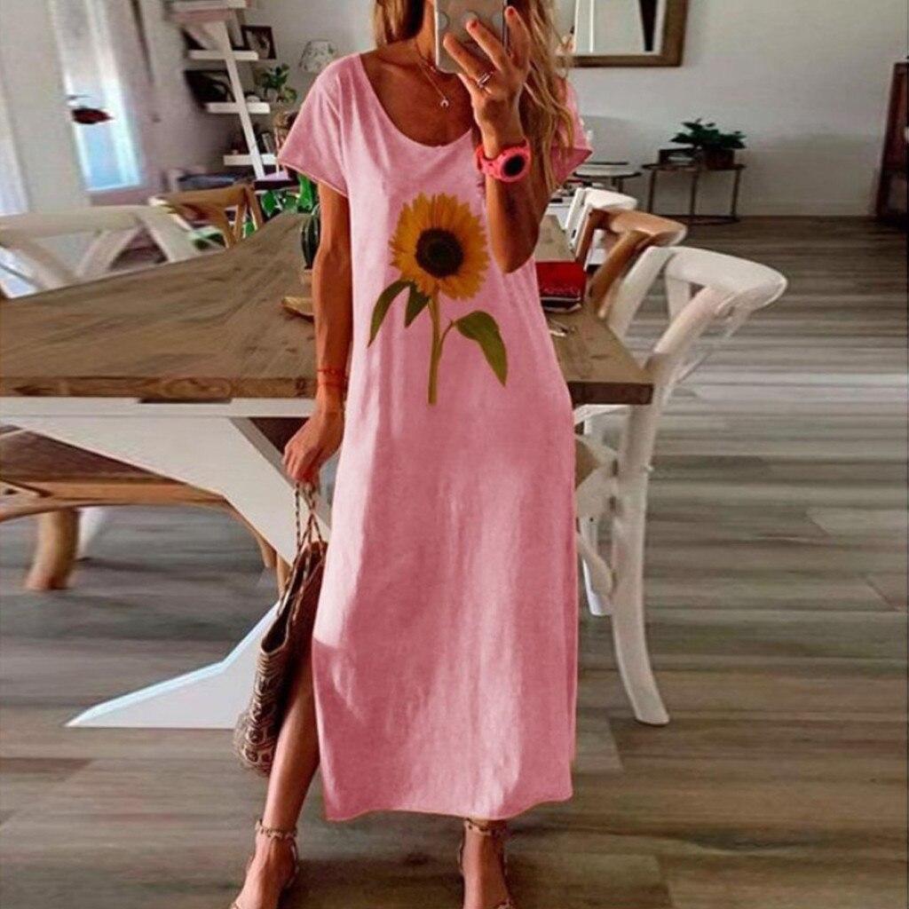 vestido de mujer Fashion Women Loose Sunflower Print Short Sleeves Side Split O Neck Casual Dress