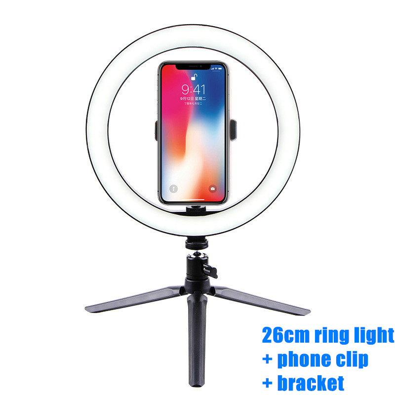 Photography LED Selfie Ring Light 26CM Dimmable Camera Phone Ring Lamp 10inch With Table Tripods For Makeup Video Live Studio