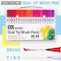 100 colores doble punta pincel bolígrafos arte marcador fino delineador pincel pintura acuarela bolígrafos para colorear Manga caligrafía