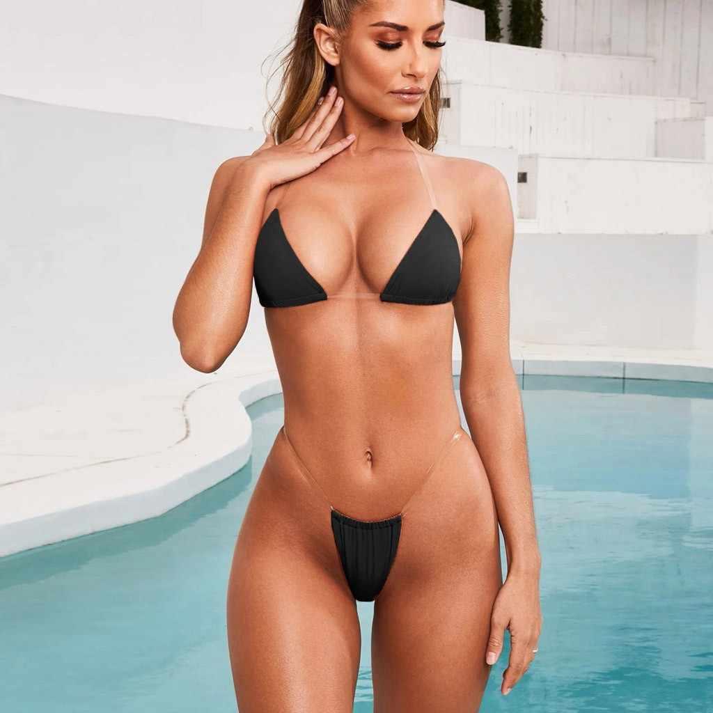 セクシーなビキニセットソリッドカラーホルター水着女性tansparentプッシュアップビキニラテックスビキニ2020 mujer水着