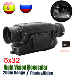 Visión Nocturna Digital Monocular infrarrojo 940NM visión nocturna caza alcance con 8G TF tarjeta envío gratis
