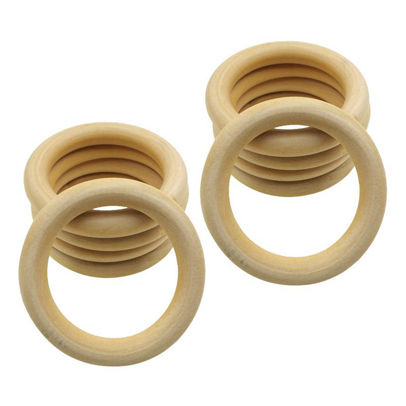 10 Pcs Natural Wooden Ring Jewelry Making Unfinished DIY Crafts 70 Mm