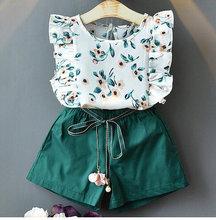 Костюм для девочек модная детская одежда Милая футболка без