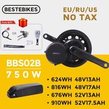 Bafang Motor BBS02B BBS02 48V 750W Mid Drive Motor 8fun Electric Bike Conversion Kit 52V17.5Ah Samsung Cells Lithium Battery Kit
