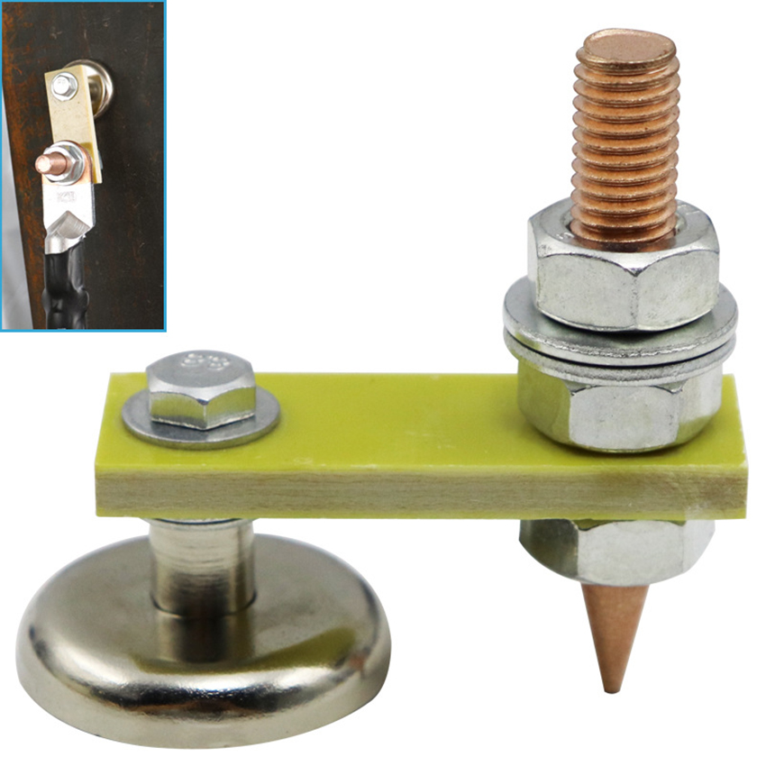 Strong Magnetic Ground Clamp Connector With Conductive Rod Stud For Welding Machine Auto Bodywork Repair Tools