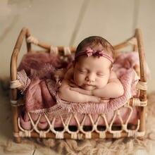 Новый реквизит для фотосъемки новорожденных Ретро тканая корзина