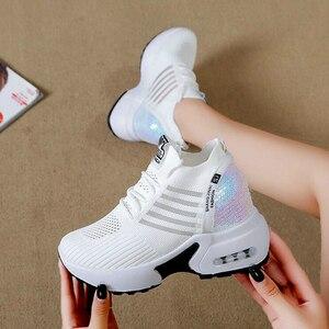 Image 5 - ฤดูใบไม้ร่วงใหม่ถักรองเท้าผ้าใบแฟชั่นผู้หญิงซ่อนรองเท้าส้นสูงรองเท้าผู้หญิงBreathable Platformรองเท้าผ้าใบWedgeรองเท้าW406