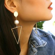 Big Star Long Triangle Pearl Tassel Drop Earrings For Women Fashion Statement Earrings Jewelry Earring Brincos 2019 цены