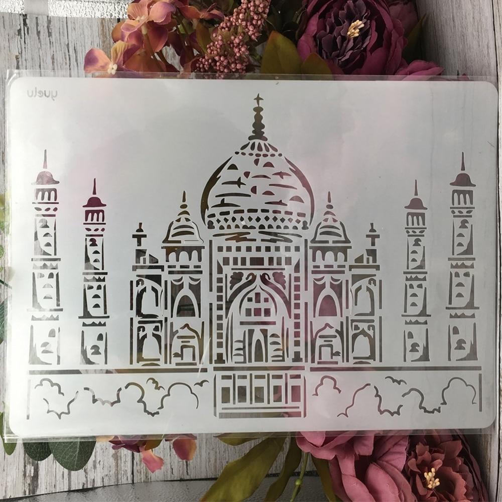 1Pcs 29*21cm A4 India Taj Mahal Building DIY Layering Stencils Painting Scrapbook Coloring Embossing Album Decorative Template