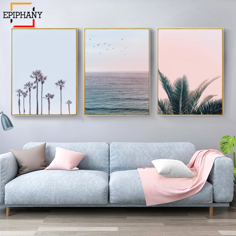 Modern Home Decor Coastal Wall Art Prints Palm Trees Ocean Canvas Painting Tropical Posters Nordic Wall Pictures For Living Room