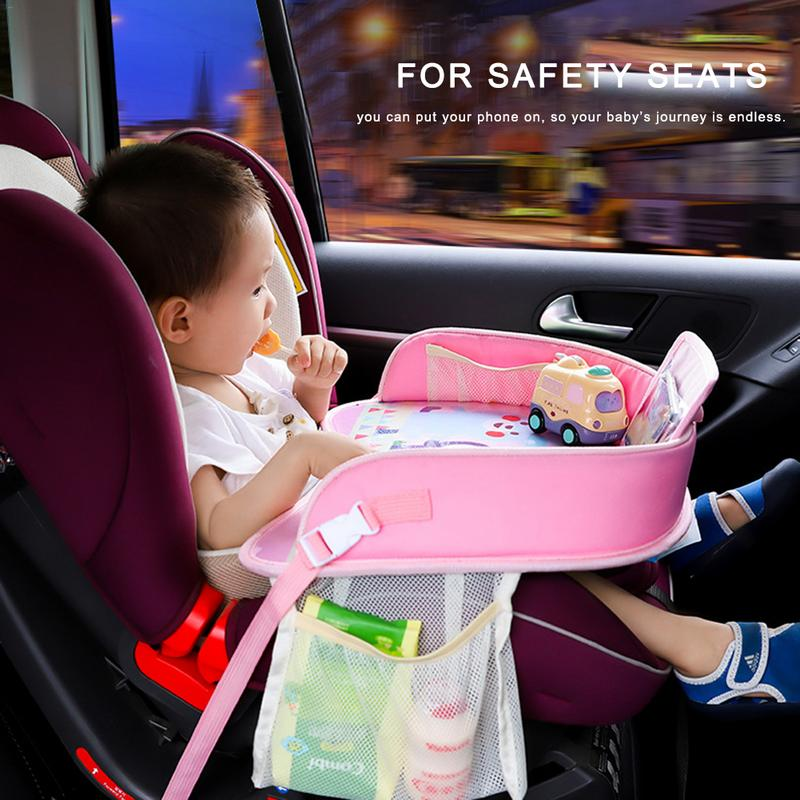 Baby Car Tray Portable Waterproof Dining Drink Table for Kid Baby Playpen Seat Children Cartoon Drawing Eating Seat Table Plate