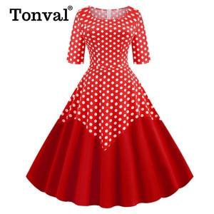 Image 4 - Tonval Two Tone Cotton Half Sleeve A Line Midi Polka Dot Vintage Dress Pinup Women Spring Summer O Neck Casual Swing Dresses