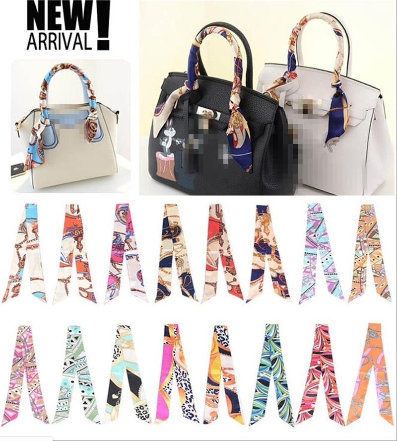 2 Pieces/lot Women Fashion Ribbon Silk Scarf Bag Handle Wrappy Mixed Design Girls Neckerchief Hair Band Small Neck Scarves