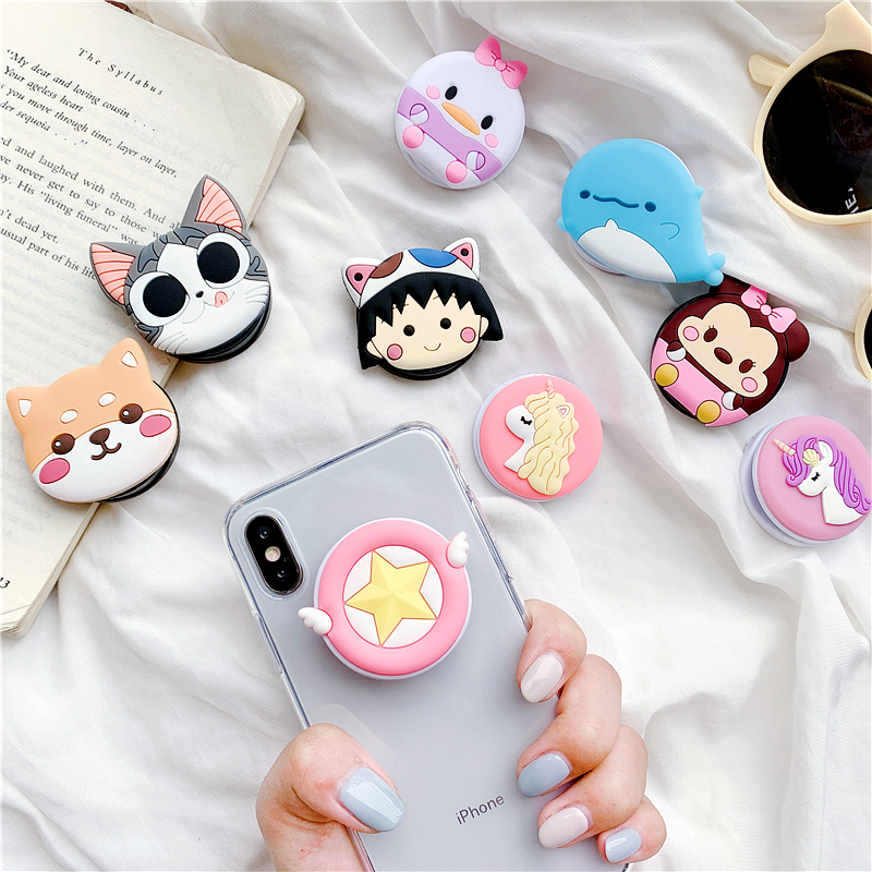 Silicone Squishy Animals Toys Phone Expanding Squishy Slow Rising Stand Squeeze Toys Stress Relief Squish Cartoon Cute Girls Toy