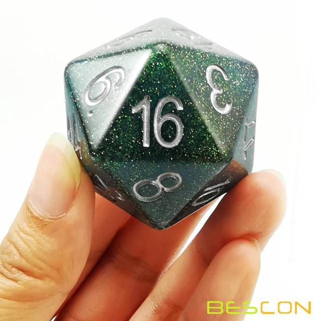 Bescon Jumbo Glowing D20 38MM, Big Size 20 Sides Dice 1.5 inch, Big 20 Faces Cube in Various Solid, Glitter, Glowing Colors 5