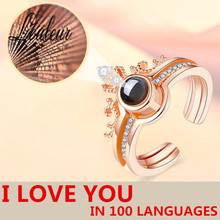 Rose Gold&Silver 100 languages I love you Projection Ring Romantic Love Memory Wedding For Women Open Jewelry