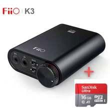 Fiio k3 amplificador de fone de ouvido portátil dsd usb dac para pc, suporte coaxial/óptico/2.5 equilíbrio