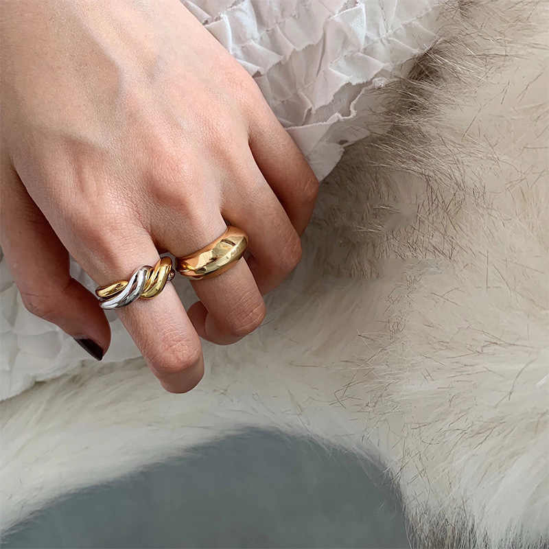 Silvology 925 فضة خواتم مزدوجة حلقة لامعة متعددة ارتداء الحد الأدنى أنيقة كوريا خواتم للنساء مجوهرات عصرية
