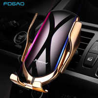DCAE Automatic Clamping 10W Wireless Car Charger For iPhone XS XR X 8 11 Pro Samsung S10 S9 S8 Qi Fast Charging Car Phone Holder