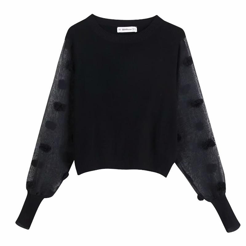 2019 women fashion transparent sleeve patchwork black knitting   blouses     shirts   women o neck fur ball appliques blusas tops LS4134