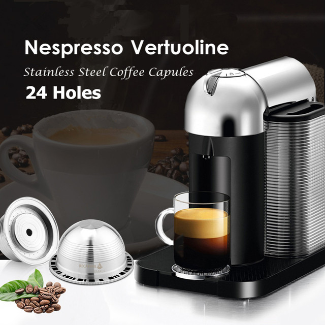 VIP קישור Nespresso Vertuo Vertuoline בתוספת GCA1 Delonghi ENV135 נירוסטה Refillable לשימוש חוזר כמוסה Pod