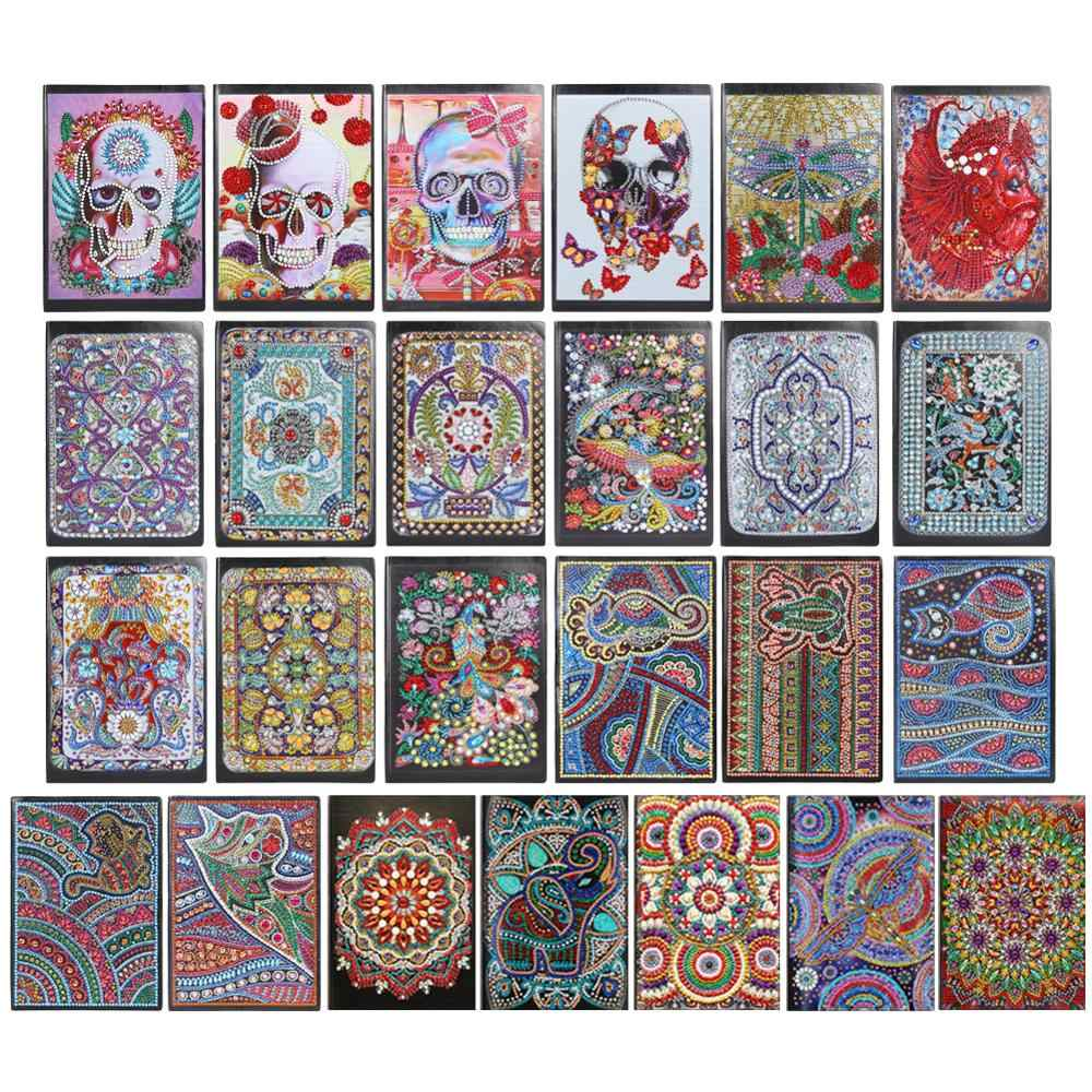 50 Pages Diamond Painting A5 Notebook DIY Mandala Special Shaped Diamond Embroidery Cross Stitch A5 Notebook Diary Book