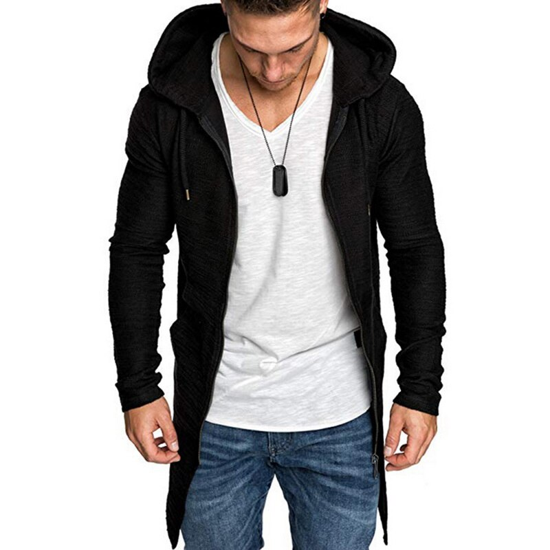 Men Fashion Hooded Coat Solid Color Trench Coat Male Casual Long Sleeve Cardigans Autumn Winter Slim Fit Long Coat 2019 New