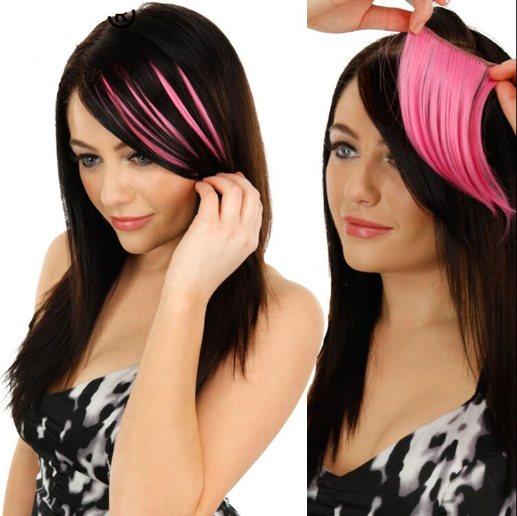 ZM Colored Pink Blonde Straight Synthetic Hair Bangs Extensions Clip In Bangs High Temperature Fiber Realistic Looking Fringe