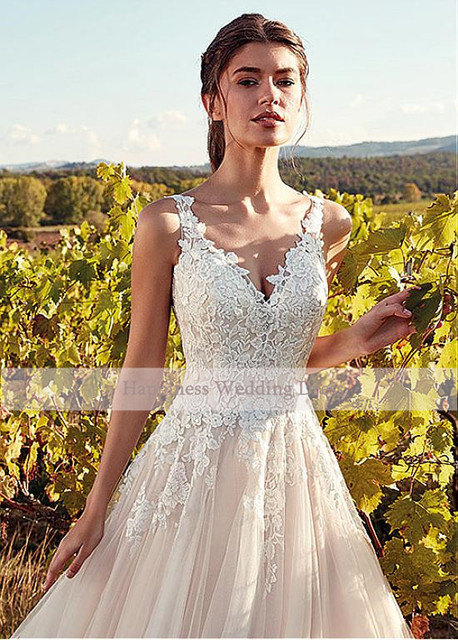 Classic V-Neck Wedding Dresses Champagne A-line Appliques Floor Length Vestidos De Noiva 2020 Bridal Dresses 3