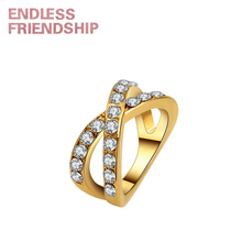 Endless Friendship Gold infinity Design Stud Rings for Women Stainless Steel Crystal GirlFriend Gift high quality anillos mujer