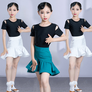 New Latin Dance Dress Girls Children Latin Dance Wear Top Skirt Two Pieces Suit Practice Ballroom Dance Competition Dress 1846 and 1847 latin dance top and skirt suits dance dress ballroom costume leotard women lady adult evening party dress