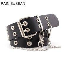 RAINIE SEAN Punk Rock Leather Belts for Women Black Coffee Chain Female Pin Buckle Belt Streetwear Belt Cinto 107cm