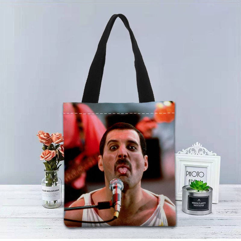 Image 3 - New Custom Freddie Mercury printed Handbag canvas tote bags shopping travel Casual Useful Shoulder Bag women bagTop-Handle Bags   -