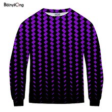 BIANYILONG 2019 Neue 3d Fabulous Sweatshirt Mit Kapuze Lila plaid Print Männer/Frauen pullover hip hop tops(China)