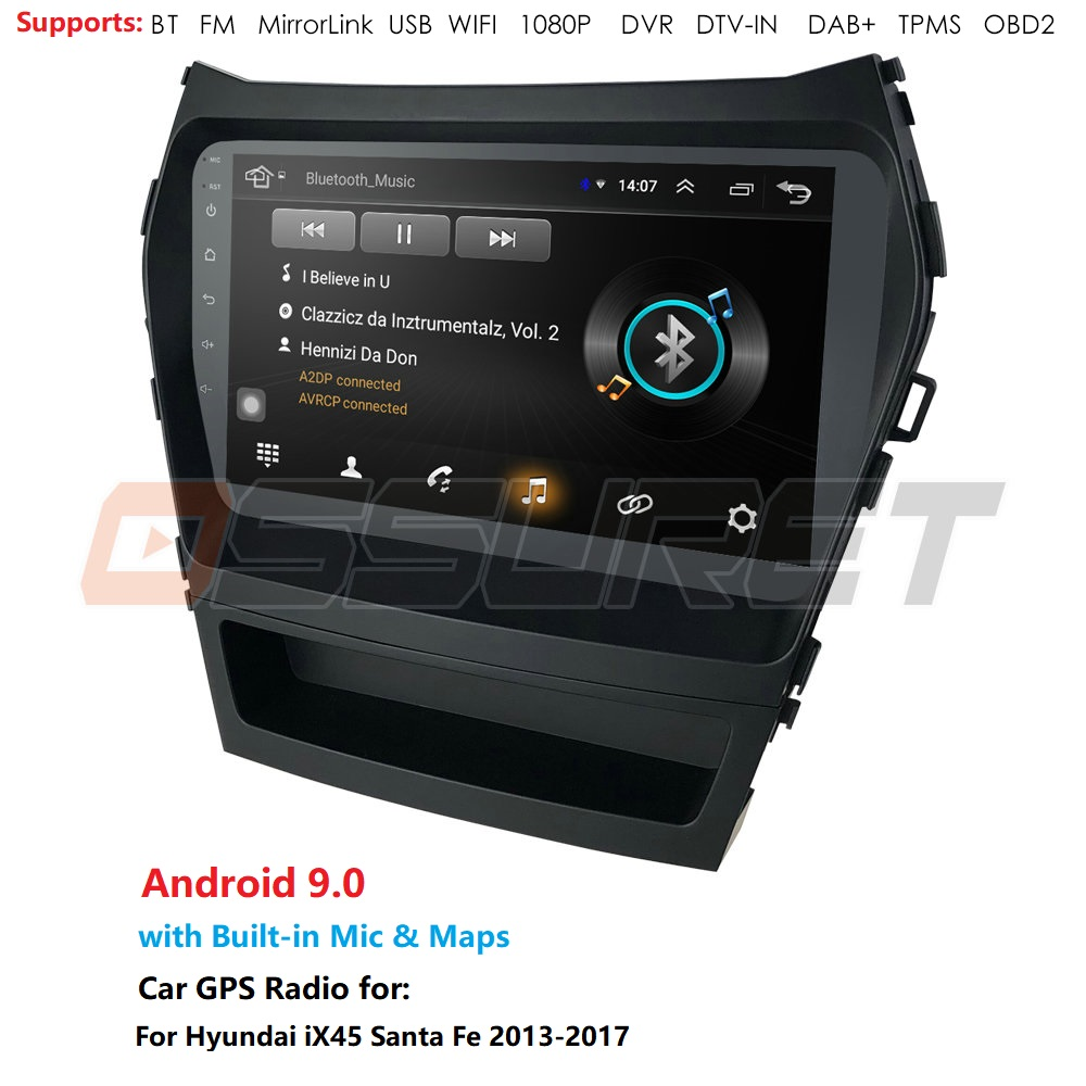 Car Radio Multimedia no DVD 2 din android Video Player Navigation <font><b>GPS</b></font> For <font><b>Hyundai</b></font> <font><b>Santa</b></font> <font><b>Fe</b></font> 2013-2017 IX45 WIFI OBD DVR SWC DVBT image