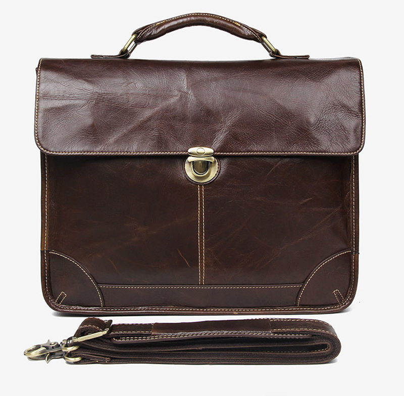 """Hc871429aeba34c9a8b35a539b9b31b05D Men's genuine leather briefcase 16"""" Big real leather laptop tote bag Cow leather business bag double layer messenger bag"""