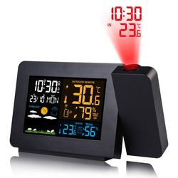 Multifunctional  LED Projection Thermometer Digital Alarm Clock Calendar  Temperatur Humidity Projector Support 7 languages
