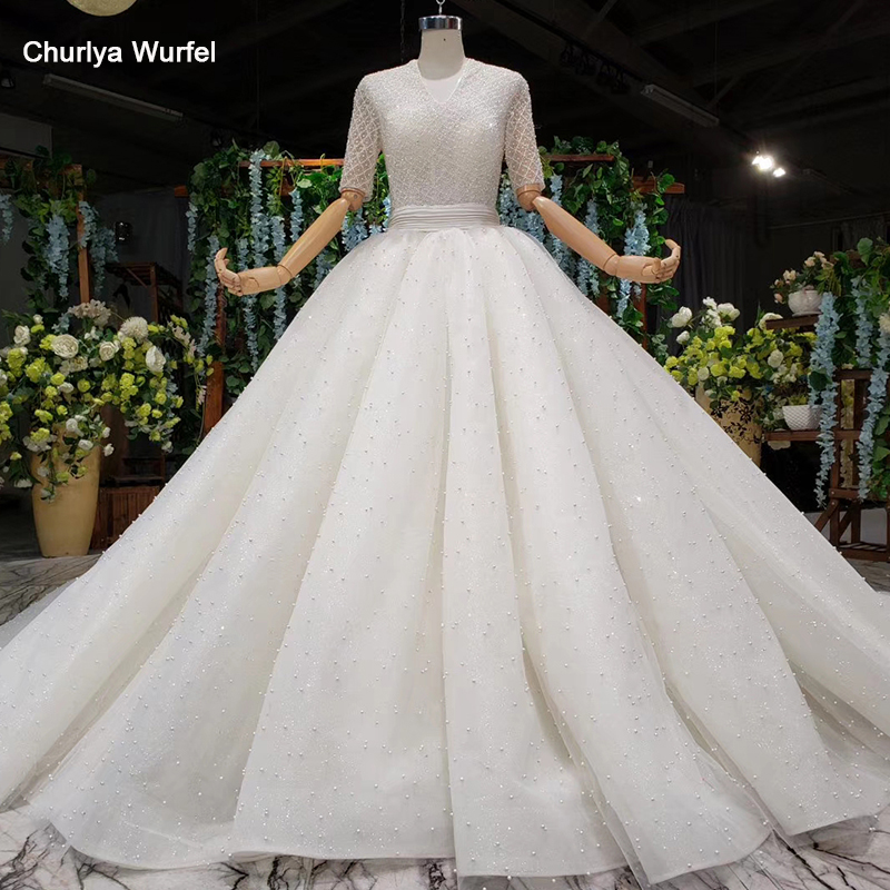 HTL974 Vintage Ball Gown Wedding Dress With Sleeve Lace Bead Sequin V-neck Luxury Wedding Gown Open Back Robe De Mariage 2020