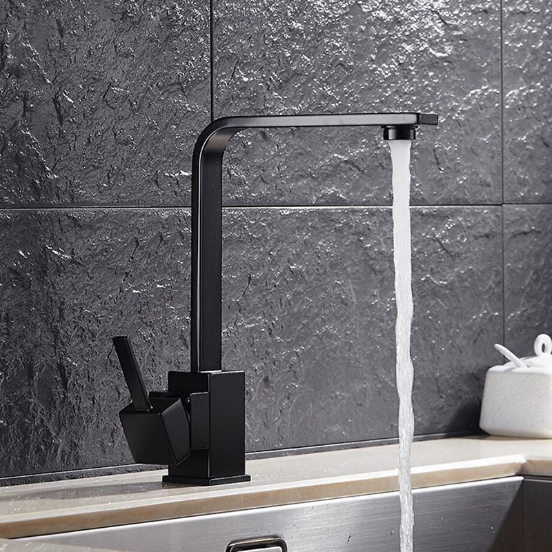 Kitchen Faucets Black Quartz Brass Kitchen Sink Water Faucet 360 Rotate Swivel Faucet Mixer Single Holder Single Hole Mixer Taps