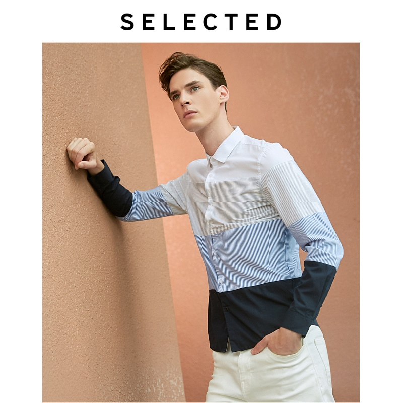 SELECTED Men's Striped Contrast Spliced Business Casual Long-sleeved Shirt S|419105563