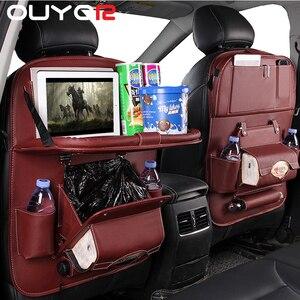 Image 1 - Pu Leder Pad Tasche Auto Sitz Organizer Faltbare Tisch Tablett Reise Lagerung Tasche Faltbare Esstisch Auto Sitz Lagerung Tasche