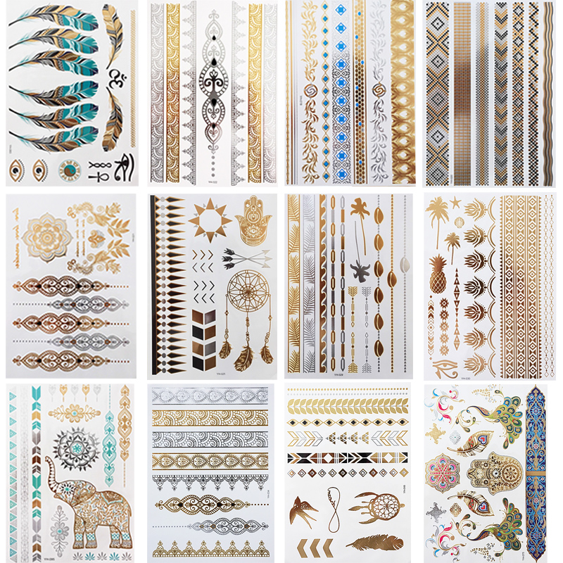 12 Sheets Metallic Temporary Tattoos Gold Jewelry Tattoo, Boho Waterproof Flash Fake Tattoo Sticker Designs For Women Girls