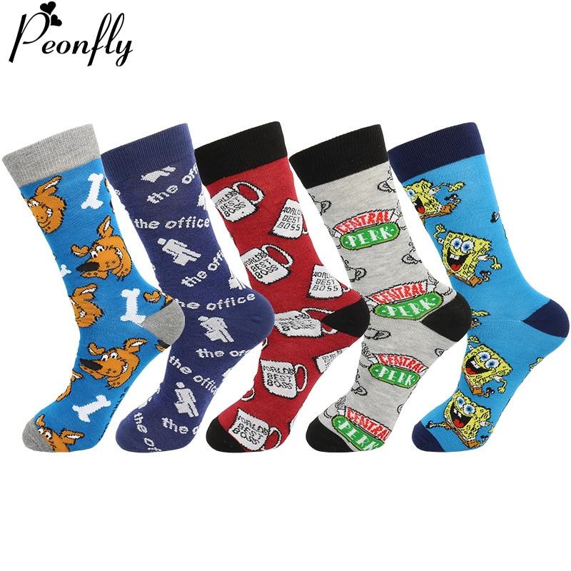 PEONFLY New 2020 Spring Men Socks Funny Cartoon Dog Printed Combed Cotton Happy Socks Men's Harajuku Calf Casual Crew Socks