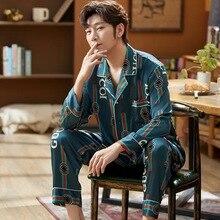 Мужские шелк атлас пижамы комплект длинный рукав одежда для сна пижама осень весна домашняя одежда большие размеры L-5XL