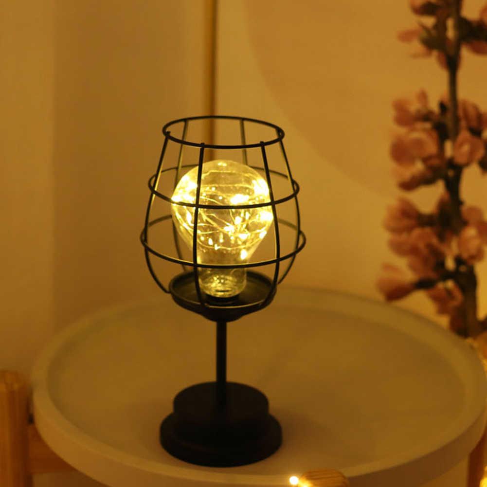 Lampu Malam LED Sederhana Besi Tempa Lampu Meja Kamar Tidur Rumah Ornamen Dekorasi Kreatif Sederhana