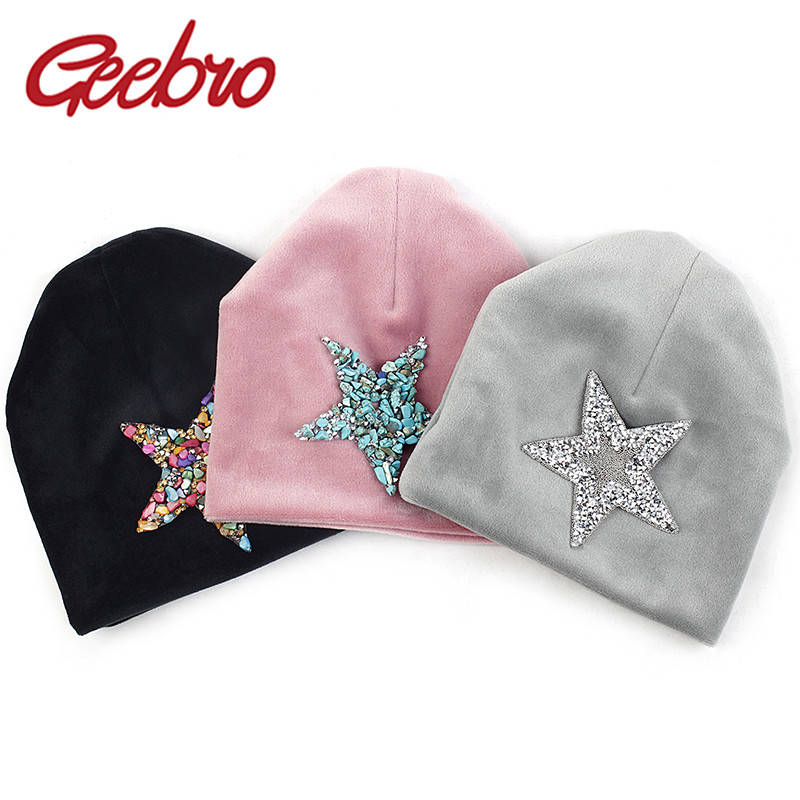 Geebro Newborn Baby Boys Girls Soft Cotton Hats Spring Winter Warm Girl Rhinestones Star Beanies Hat Cap Photography Prop