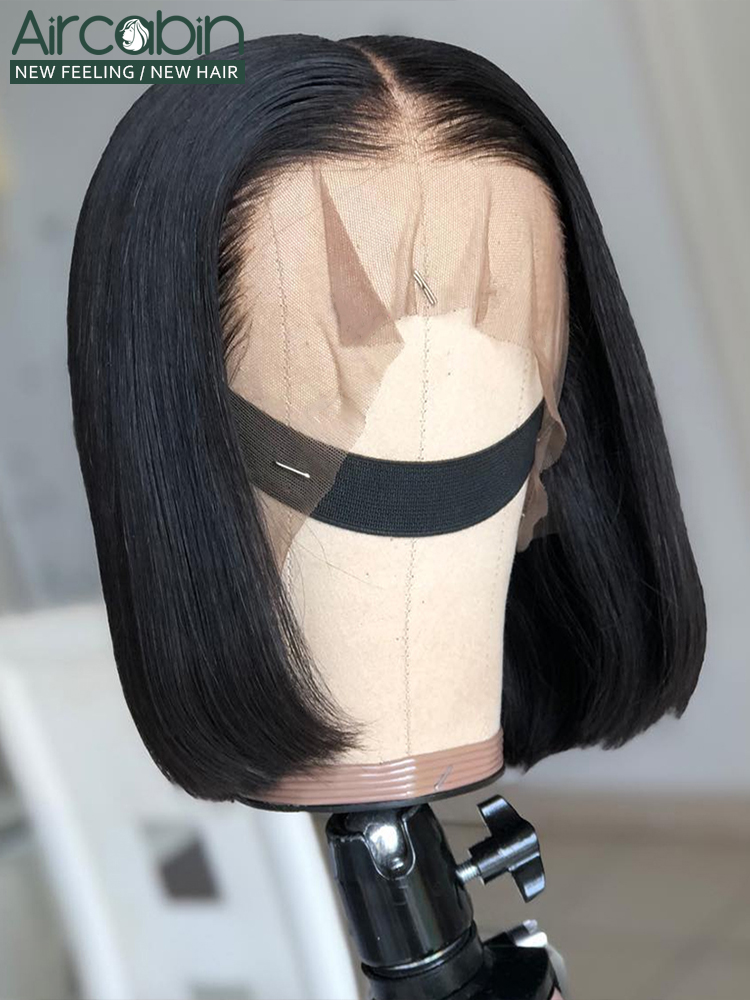 Bob Wigs Human-Hair Lace Glueless 13x6 Black Women for 13x6/Lace/Deep-middle-part Non-Remy
