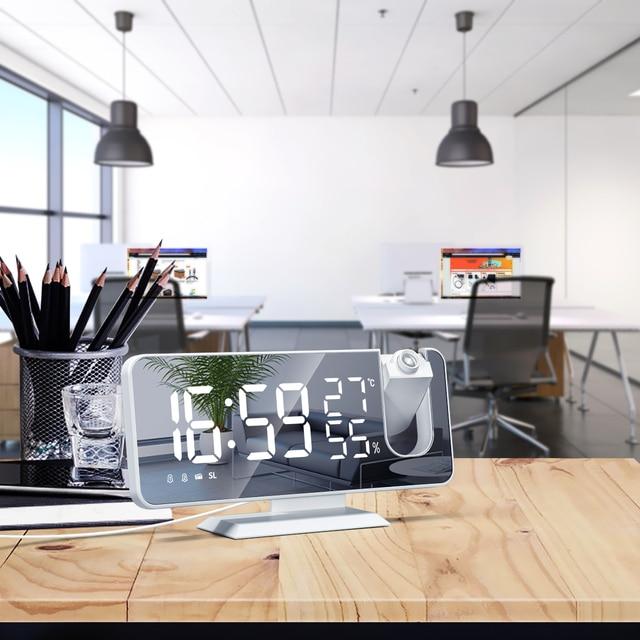 LED Digital Alarm Clock Watch Table Electronic Desktop Clocks USB Wake Up FM Radio Projector Bedroom Snooze Function 2 Alarm 6